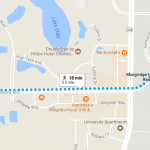 Map displaying walking distance and route between conference hotel and UCF MIRD.